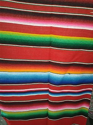 Large Mexican Red on Red Sarape Saltillo Blanket Bed Hot Rod Cover 5x7 ft 3