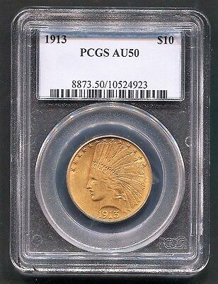 1913 AU50 $10 Gold INDIAN HEAD Eagle NGC AU 50 Almost UNCIRCULATED