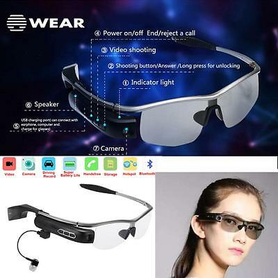 Smart WiFi Bluetooth Video Glasses Camera Headset Handfree Music For Android IOS