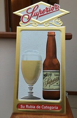 Mexico Superior Beer Sign 1960's Mexican Promo Great Design