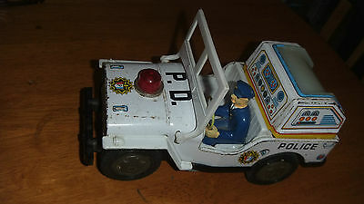Vintage Collectable 1960's Rare Tin Police Jeep Battery Operated made in japan