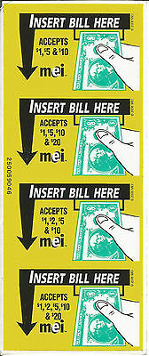 MEI Vending Machine Labels Stickers Bill Validator Insert Bill Snack Decal MARS