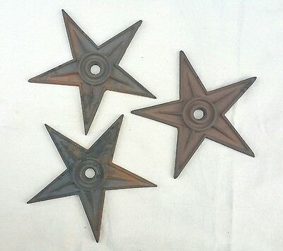 "3 9"" Antique Industrial Architectural Cast Iron 5 Point Star Building Anchor Lot"