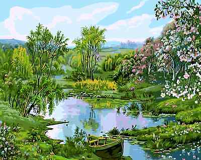 Paint By Numbers Kit Canvas 50*40cm 8200 Green Spring River AU Stock Home Decor