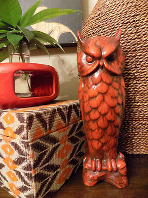 Vintage Kitsch Ceramic Tall Red Guardian Owl Statue Boho Home Decor