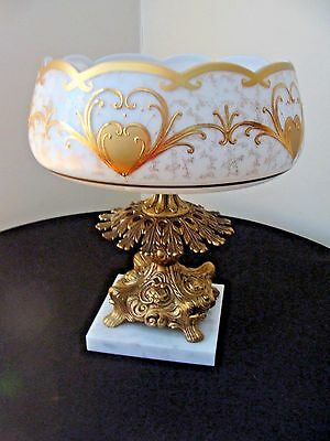 Large Ornate Victorian Center Bowl With Gold Gilding and Marble Base Exquisite