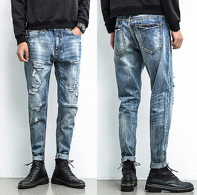 Mens Jeans Slim Fit Straight Skinny Fit Denim Trousers Casual Pants US STOCK