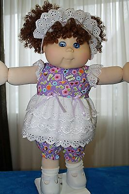 Cabbage Patch Doll Cloths- Purple, pink, blue sun dress, - bloomers - hair bow