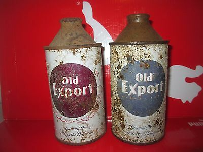2 OLD EXPORT OFF-GRADE 12oz. CONE TOP COLLECTIBLE BEER CANS.