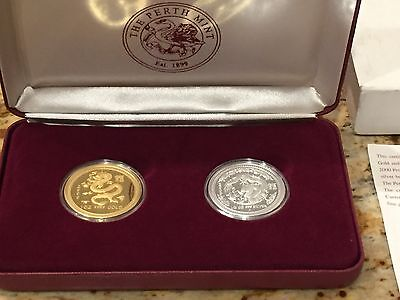 2000 Australia Lunar Year Of The Dragon Gold & Silver Proof Coin Set Rare!!!
