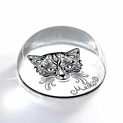"Ornate Cat Meow 2"" Crystal Half Moon Magnet and Paperweight"