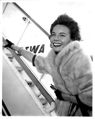 Terrific Janet Blair Boarding Twa Flight