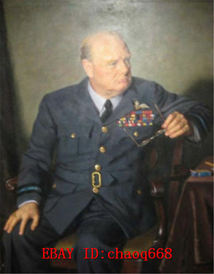Hand-painted Portrait Oil Painting on Canvas, WINSTON CHURCHILL 24X36 NO FRAMED