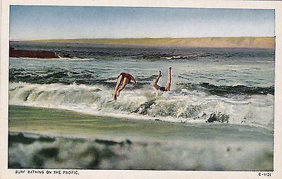 POSTCARD - Surf Bathing on The Pacific.