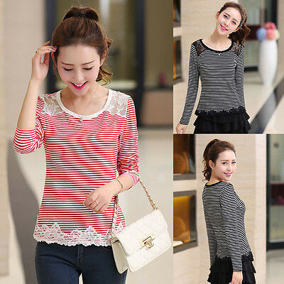 Fashion Women Long Sleeve Shirt Casual Lace Blouse Loose Cotton Tops T Shirt