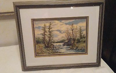 Vtg Jean McIntosh? Micro petit point landscape framed watermill by river 16x13