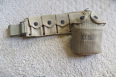 WWI US Canteen and Rifle Cartridge  Belt
