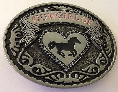 Metal Belt Buckle - Cowgirl Up/rodeo/country And Western Horse- Silver Tone -New
