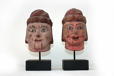1# Beautiful & Rare Pair of Antique Burmese Wooden Burma Puppet Head With Stand