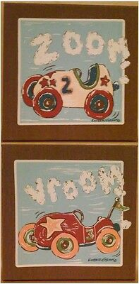 ZOOM ~ ZOOM Kimberly Grant Retro Race Cars Wall Decor Baby Nursery Set Of 2 EUC