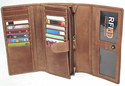 RFID Security Lined Vintage Purse Full Grain Cow Hide Leather. 22059