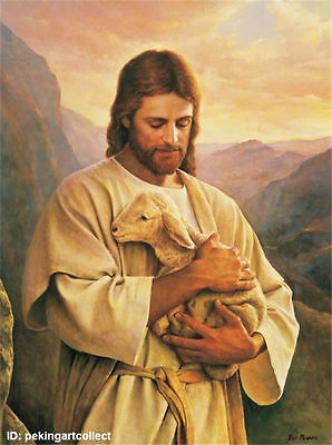 Hand-painted Portrait Oil Painting on Canvas,Jesus and sheep 24x36INCH NO FRAMED