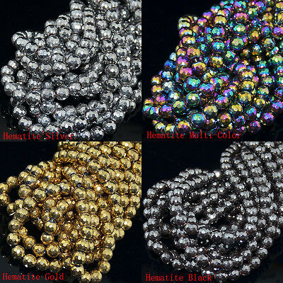 2mm 4mm 6mm 8mm 10mm 12mm Faceted Hematite Gemstone Round Ball Beads 15.5""
