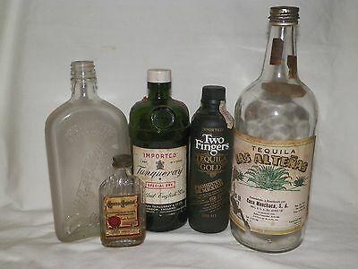 Vintage Liquor Bottle Lot Tanqueray, H & A Gilley, Jose Curvo, Las Altenas