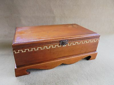 Antique Australian Huon Pine Inlaid Wood Jewllery Box Ex Pentridge Prison