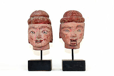 2# Beautiful & Rare Pair of Antique Burmese Wooden Burma Puppet Head With Stand