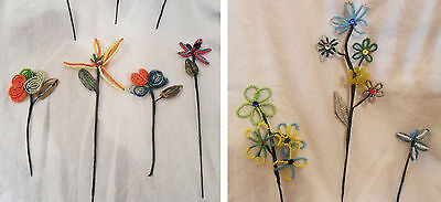 Lot 7 French Vintage Glass Beaded FLOWERS Stems Sequins Great Condition Handmade
