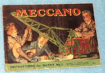 MECCANO INSTRUCTIONS for OUTFIT No. 3 Circa 1950's
