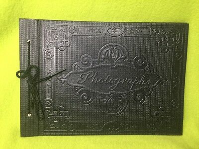 Vintage Embossed String Tied Black Photo Albums With Black Pages