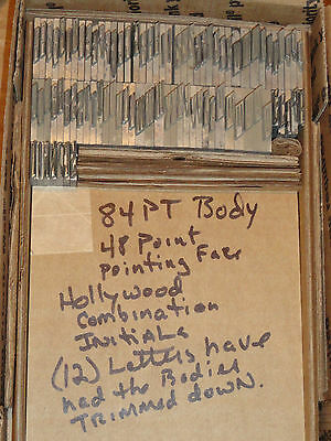 Vintage Letterpress Foundry Printing Type Rare 84/48 PT Hollywood Combi Initials