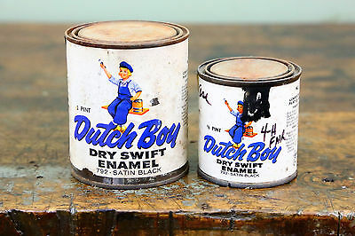 1950s DUTCH BOY Dry Swift Enamel Advertising PAINT Cans Vintage Old Lot of 2
