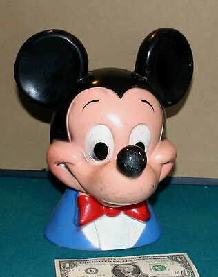 Mickey Mouse 1971 Plastic Head Bank with Coin Stopper