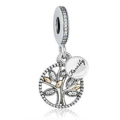 FAMILY 925 Solid Sterling Silver & Solid 14 KT Gold Heritage Pendant Charm Bead