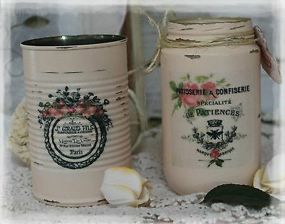 ~ A set of 2 Vintage French Country Shabby Chic Distressed Tin Can & Mason jar ~