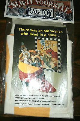 Vtg The Toy Works Sew it Yourself Old Woman in Shoe with Children Kit dolls