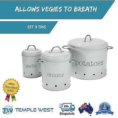 Metal Retro Vegetable Canisters Potatoes Onion Tins Bin Garlic Ventilated Set 3