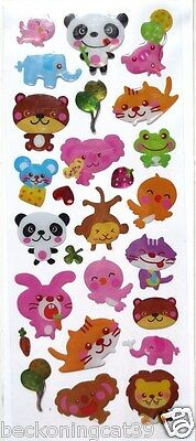 Animal Cat Kitty Baby Bird Bear Panda Lion 3D Vinyl Sticker Decor Kid Gift JAPAN