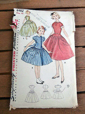 Vintage 1950's Simplicity 4482 girls formal party dress size 10 USED