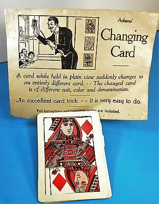 Antique 1913 T.L. De Land Adams Changing Card Magic Trick Early Rare Find See
