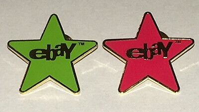 (1) Red (1) Green eBay Collectible Star Pins (New)