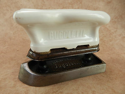 """Antique French """"Bugolette"""" Cast Iron & Ceramic Iron for Collars, Lace and Pleats"""