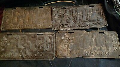 New Mexico 1924, 1925, 1931 & 1933 License Plates 5 Plates Total