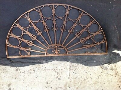 Wrought iron French arched above door grill antique