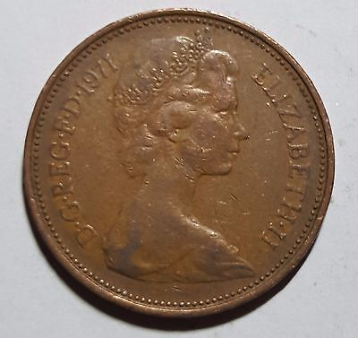 RARE 1971 BRITISH NEW PENCE 2p COIN  ( very nice condition )