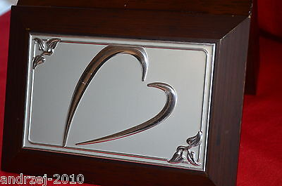 Vtg  Silver  Heart And Jewellery  Wood Box  - Large Size