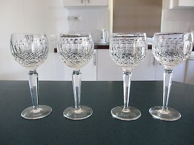 "Waterford Crystal Exquisite ""Colleen"" Hock Glasses x 4"